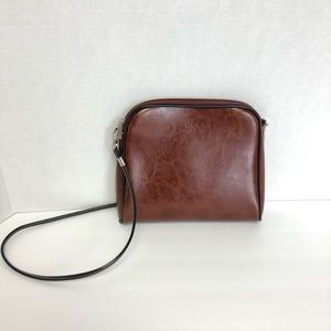 GUCCI | BROWN LEATHER BLACK TRIM CROSSBODY